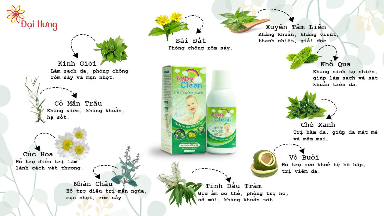 Thành phần và công dụng nước tắm thảo dược BabyClean
